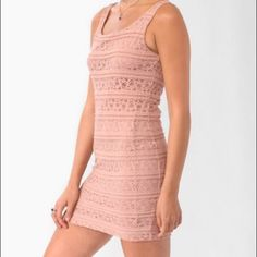 """Pink Lace Bodycon Dress """"Dusty rose"""" pink; easy to dress up or down  In flawless condition & a staple to any wardrobe! Forever 21 Dresses"""