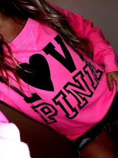 Pink by Victoria's Secret neon pink pullover sweatshirt crew blk graphics EUC M in Sweats & Hoodies | eBay