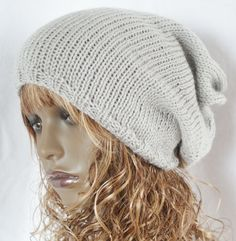 Hand Knitted  Light Grey Slouchy Beanie Tam Dreads by slouchiehats, $18.00