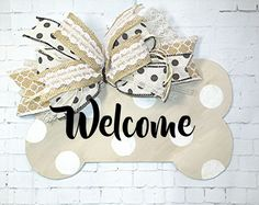 """Dog Bone """"Beware of Dog Kisses"""" Door Hanger Wreath. Hand painted tans and creams for that classic bone look with black lettering. Cute Crafts, Diy Crafts, Dog Wreath, Grapevine Wreath, Baby Girl Birth Announcement, Door Plaques, Dog Rooms, Door Hangers, Wooden Signs"""