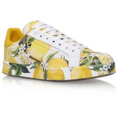 Dolce & Gabbana Lilla Sneakers (13,000 MXN) ❤ liked on Polyvore featuring shoes, sneakers, genuine leather shoes, leather sneakers, real leather shoes, low profile shoes and patterned shoes