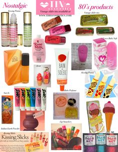 A collection of all the fun beauty products from the 80's including the vintage slider tins.TINte Cosmetics has a similar flavored lip gloss in a vintage slider tin. #1980's #flavoredlipgloss best lip gloss for chapped lips