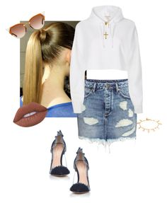 Denim Days by jdjmacpherson on Polyvore featuring polyvore, fashion, style, River Island, H&M, Gianvito Rossi, Peermont, Pamela Love, Fendi, Lime Crime and clothing