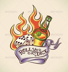 Roll the Dice Tattoo Design #GraphicRiver Vintage tattoo design with dice, rum, flame and banner. Editable vector illustration. EPS 8.0. Created: 9July13 GraphicsFilesIncluded: JPGImage #VectorEPS Layered: Yes MinimumAdobeCSVersion: CS Tags: alcohol #art #banner #bottle #casino #chance #club #dice #fire #flame #gambling #games #jackpot #jerry #leisure #luck #number #retro #revival #roll #rum #sailor #success #tattoo #traditional #vintage #whiskey #winning