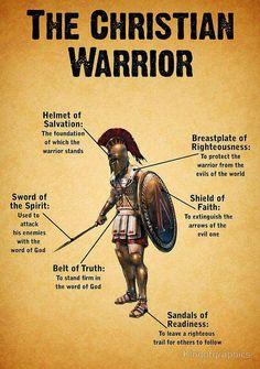 The Christian Warrior armor names - Bible Scripture ✞ - Christian Quote thought Christian Warrior, Christian Faith, Christian Quotes, Christian Posters, Christian Relationship Quotes, Christian Names, Christian Tattoos, Christian Living, Way Of Life