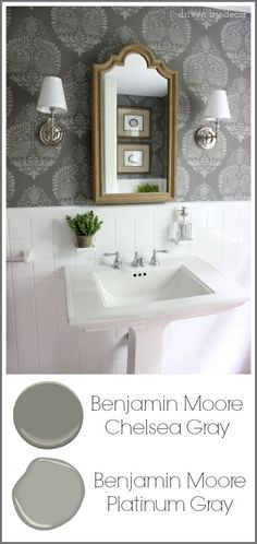 Benjamin Moore Chelsea Gray and Platinum Gray are the paint colors used to stencil the walls in this remodeled bathroom