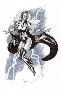Gary Frank Storm Commission Lake Como Comic Art Festival lccaf in Tatiana TDArt Dykes's -Theme: X-men Comic Art Gallery Room Marvel Comics, Marvel Heroes, Black White Art, Black Women Art, Mustang, Storm Images, Storm Marvel, X Men Personajes, Ororo Munroe