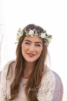 Flower Crown of Ivory Rose and Green Fern and Babies Breath Boho Wedding Floral Halo Wreath Ribbon Tie Bridal Woodland Wedding Headpiece by BeSomethingNew on Etsy https://www.etsy.com/listing/224219895/flower-crown-of-ivory-rose-and-green