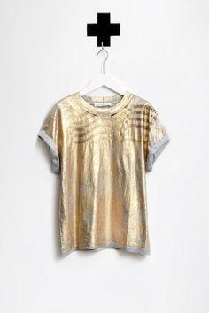 GOLDEN GOOSE / TSHIRT FLAG MEL-GREY GOLD AW 15-16 / ordershop@humanoid.nl