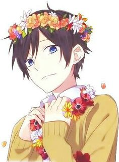 Anime boy, black hair, blue eyes, flowers; Anime Guys  Please tell me the name of this Anime and/or character if you know