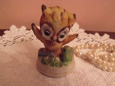 Vintage owlet with Frog/owlet and frog figurine/owl/ by RetroBuy, $4.90