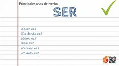 10 main uses of the verb ser. Learn how to use this verb in each situation with questions and answers which help you to know many forms