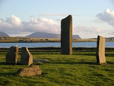 Stone of Stenness with Hoy in the distance. I was nearly skewered by a skua in 2002