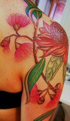 Australian flowering gum, waratah and eucalyptus botanical tattoo - Tatu Lu, Mul. - Australian flowering gum, waratah and eucalyptus botanical tattoo – Tatu Lu, Mullumbimby Australi - Australisches Tattoo, Body Art Tattoos, Tatoos, Color Tattoos, Tattoo Shop, Girl Tattoos, Australian Wildflowers, Australian Native Flowers, Australian Plants