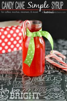2 Ingredient Candy Cane Simple Syrup Recipe- for homemade peppermint lattes!
