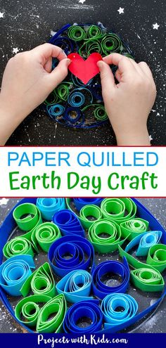 Celebrate Earth day with with this beautiful paper quilled Earth Day craft for kids. Using black paper to create a night sky really makes this paper craft stand out! Art Activities For Kids, Craft Projects For Kids, Paper Crafts For Kids, Crafts For Kids To Make, Fun Crafts, Art For Kids, Therapy Activities, Earth Day Crafts, Nature Crafts