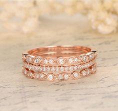 $699 Pave Diamond Wedding Band Trio Sets Half Eternity Anniversary Ring 14K Rose Gold Curved Art Deco