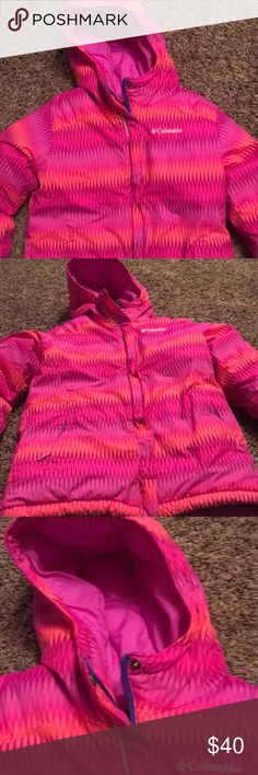 Columbia little girls ski jacket Adorable little girls Columbia brand ski jacket. Mostly hot pink, has orange and purple in it as well. In perfect condition, only worn on one trip. Has multiple pockets with zippers, as well as a holder on the hood for your ski goggles. Girls medium 10/12. Matching pants in my closet. Columbia Jackets & Coats Puffers