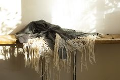 Diamond Shawl with Macrame Fringe from Le Marché St George