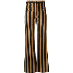Nina Ricci striped flared trousers (£840) ❤ liked on Polyvore featuring pants, black, flare trousers, striped trousers, flared trousers, striped pants and cotton pants