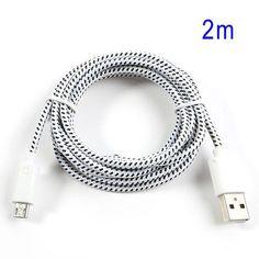 Cable cargador USB con conector micro USB nylon 2M blanco #friki #android #iphone #computer #gadget Visita http://www.blogtecnologia.es/producto/cable-cargador-usb-con-conector-micro-usb-nylon-2m-blanco