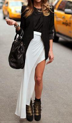 black tee + black blazer + white asymmetrical chiffon skirt + black booties