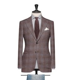 This cloth is a Medium Brown Basket Weave with a Light Blue Windowpane. Cloth Weight: 260g Composition: 90% Wool and 10% Cashmere