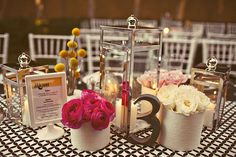 Cute! I like the lanterns and the patterned tablecloth. (but too much stuff on the table)
