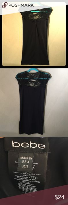NWOT | bebe Lace Cutout Stretchy Tunic/Dress / S-M NWOT | bebe beautiful black stretchy tunic/dress w/ lace upper detail and back cutout in a never worn condition tagged M-L, but runs small and would best fit sizes small to medium or 4-8. bebe Tops Tunics