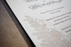Letterpressed Wedding Invitations - Lace. $400.00, via Etsy.