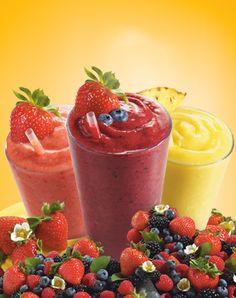Delicious Sunrise Growers Pure Fruit Frozen Smoothies. Strawberry Banana Splash, Wild Berry Bliss & Mango Citrus Blast :)