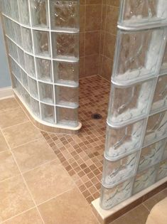 Ever wondered how to make a 45 degree angled glass block shower wall? Glass Bathroom, Bathroom Wall Decor, Bathroom Flooring, Glass Blocks Wall, Block Wall, Shower Pan Installation, Glass Block Shower, Rustic Toilets, Rustic Bathroom Designs