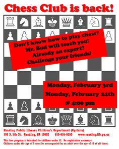 Chess Club - Reading Public Library - 2/3 & 2/24