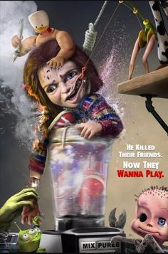 After months of Chucky attacking Toy Story characters artist Jason A. Messina claps back with Sid's mutants Marvel Movie Posters, Horror Icons, Horror Movie Posters, Marvel Movies, Horror Movies, Scary Movie Characters, Scary Movies, Elf Movie, Story Characters