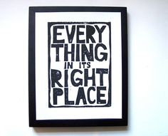 PRINT - Everything in its right place BLACK LINOCUT POSTER 8X10 by thebigharumph on #Etsy $20
