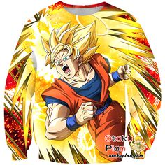 DBZ Flawless Technique Super Saiyan Goku (Angel) Sweatshirt - Dragon Ball Z 3D Sweatshirts And Clothing  #merchandise #animeart #stuff #animeboy #animelover #anime #comic