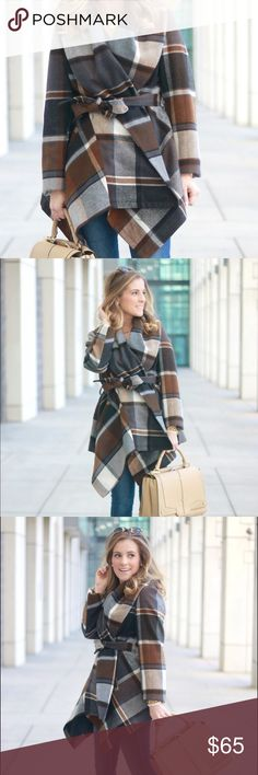 Plaid Wrap Coat Fully lined and very warm plaid coat. Worn twice. In excellent condition! Needs to go to a good home where it actually gets cold, haha Make offer! Jackets & Coats