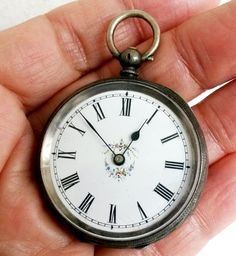 Antique 1890s Swiss Silver Open Face Key Wind Pocket Watch .935  | eBay