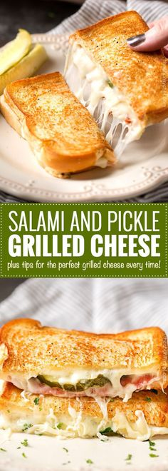 Salami and Pickle Grilled Cheese This grilled cheese sandwich is like the salami, cream cheese, and pickle roll up appetizer, except in gooey, comfort food form! Grilled Sandwich, Soup And Sandwich, Sandwich Recipes, Lunch Recipes, Cooking Recipes, Steak Sandwiches, Salami Sandwich, Perfect Grilled Cheese, Grilled Cheese Recipes