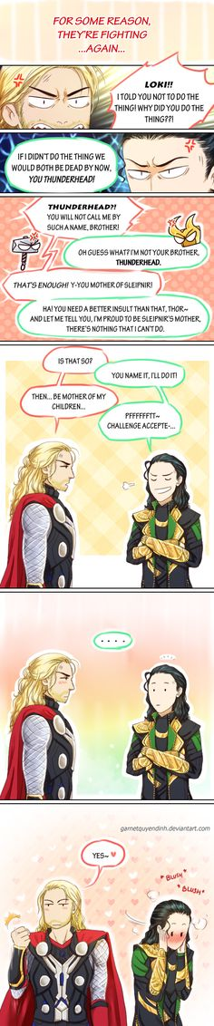 Thorki - Mother of my children by GarnetQuyenDinh on deviantART. hahaha, the last panel looks like some super girly manga