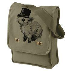 Handmade Gifts   Independent Design   Vintage Goods Sir Fancy Rabbit Field Bag - Army Green - Accessories - Girls