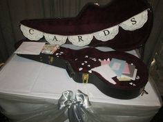 """Guitar case card box with doily """"cards"""" bunting"""