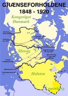 På kortet kan man se de forskellige grænse- og mæglingsforslag, som havde været på      bordet under Londonkonferencen samt den endelige grænsedragning ved Kongeåen.