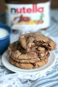 Nutella Chocolate Chip Cookies #baking #nutella #HELLYES
