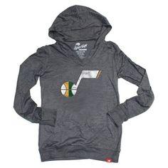 Utah Jazz Burnout Hooded Long Sleeve T-Shirt (Gray)