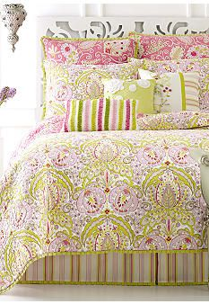Dena Home Moroccan Garden Quilt Collection -  Moroccan Garden is a reversible print quilt in pinks and greens with outline quilting and a pleated ruffle green border. Prints were designed from Dena's paintings.