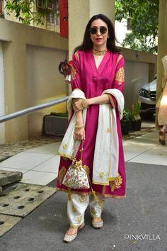 Kareena Kapoor Khan, Karisma Kapoor & Taimur Ali Khan flaunt shades of pink on Diwali; Pakistani Dresses Casual, Indian Fashion Dresses, Dress Indian Style, Pakistani Dress Design, Indian Fashion Trends, Silk Kurti Designs, Kurta Designs Women, Kurti Designs Party Wear, Blouse Designs