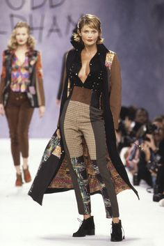 Todd Oldham runway show, Helena Christensen, fall 1994. [Photo by Dan Lecca/Courtesy of Todd Oldham Studio]