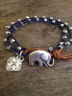 "Good Luck Elephant Crochet & Leather Multi Wrap ""Boho Chic"" $28.00 via etsy"