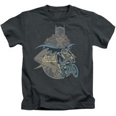 DC Comics Batgirl Biker Juvenile's Tee - Charcoal